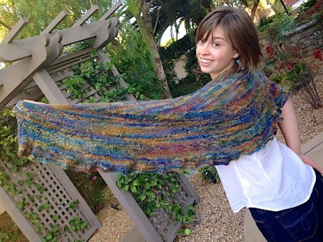 The first and last time my daughter will touch this shawl!
